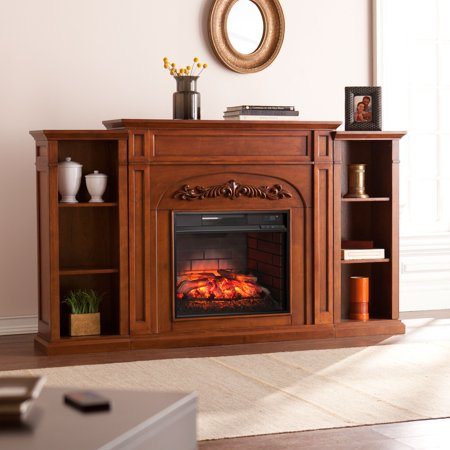Crayfire Bookcase Infrared Electric Fireplace, Autumn -