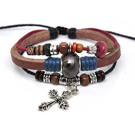 Leather Cross Bracelet Christian Jesus Religious Jewelry - Christian Jewelry Store