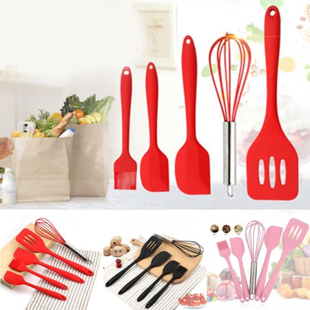 Silicone Kitchen Utensil Set, 5pcs - Heat-Resistant Non-Stick Silicone Cooking Utensils - Baking BBQ Cooking Tool