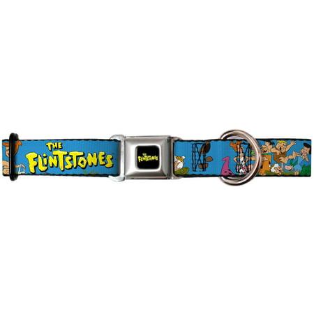 dog collar fsa-the flintstones logo full color black yellow - the pet collar