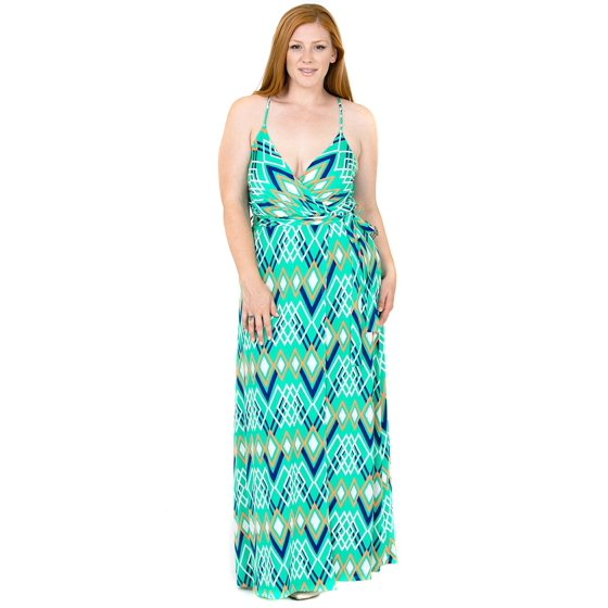 Plus Size Cami Strap Chevron Print Faux Wrap Maxi Dress U.S.A. Mint - 3X