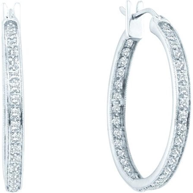 Gold and Diamonds FER5050-W 1.0CT-DIA FASHION HOOPS- Size 7