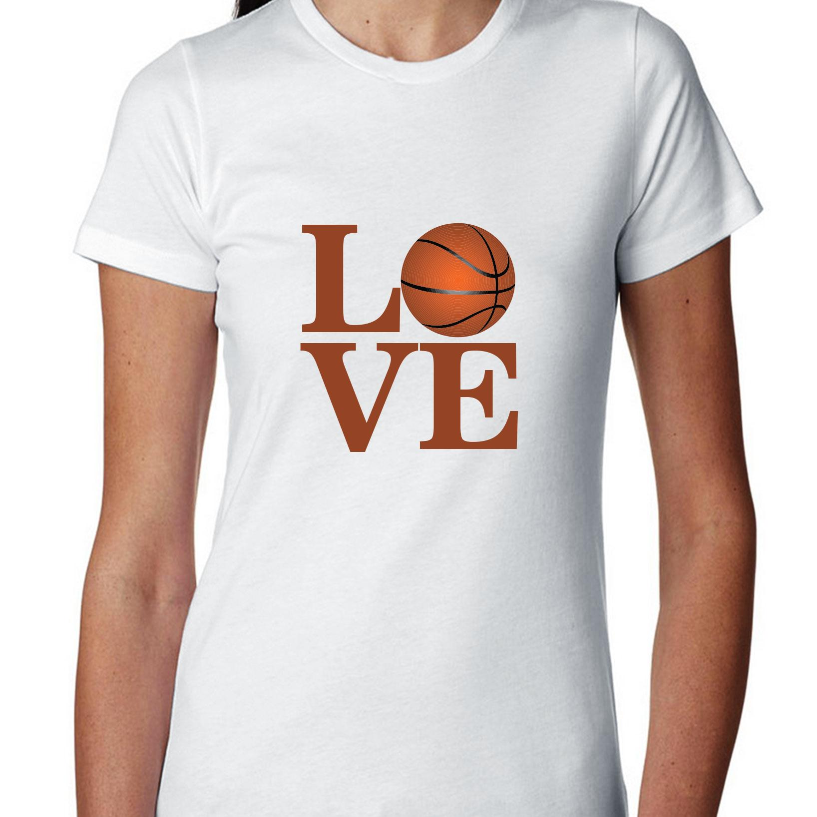 Graphic Basketball Fan Love Women's Cotton T-Shirt