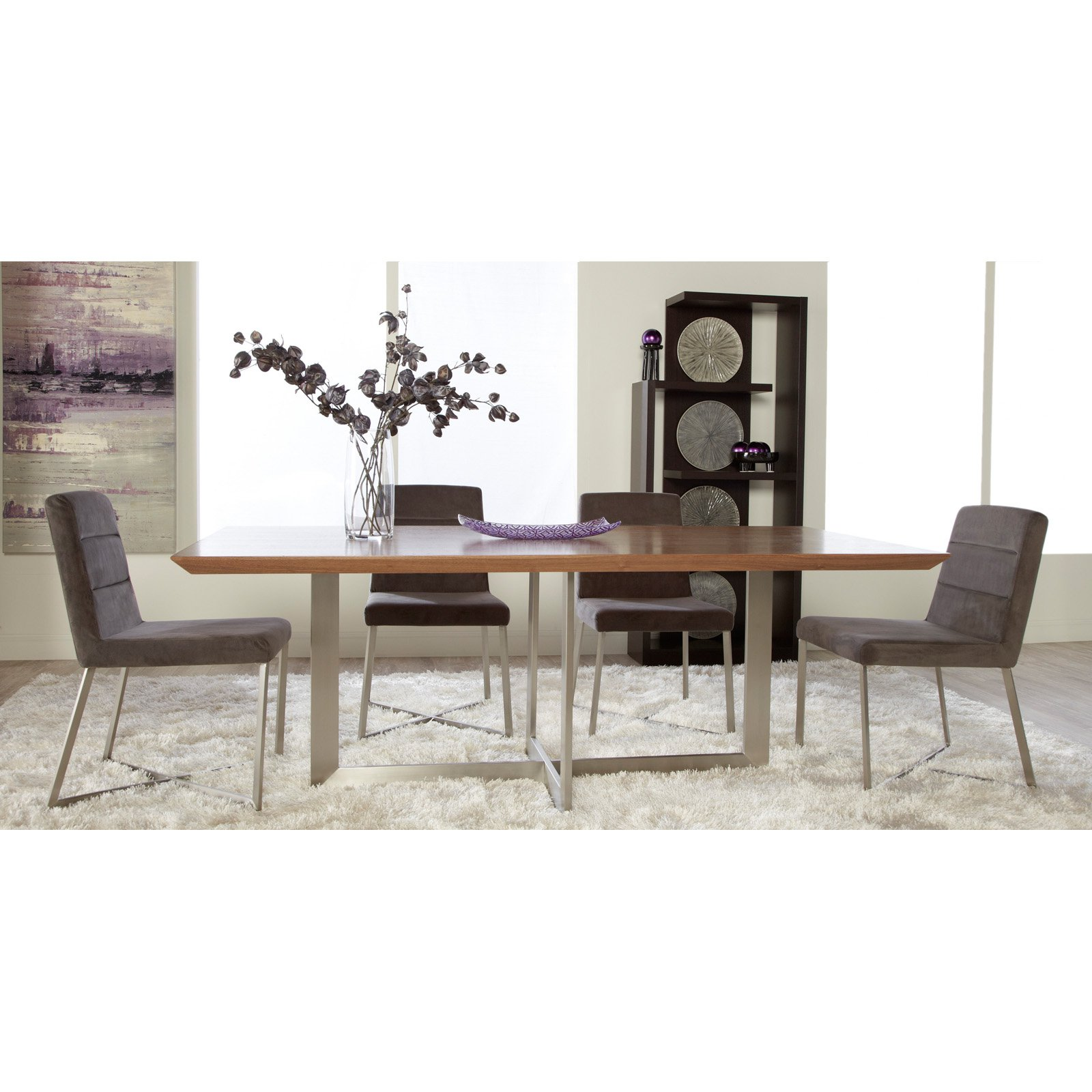 Euro Style Tosca 5 Piece Walnut Dining Table Set - Tosca Grey Chairs