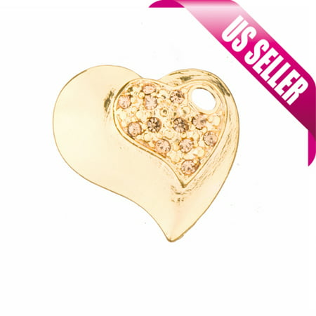 - Swirl Heart Gold-Finished Charms With Light Topaz Preciosa Czech Crystal 19.4x21.2mm pack of 2pcs (3-Pack Value Bundle), SAVE $2