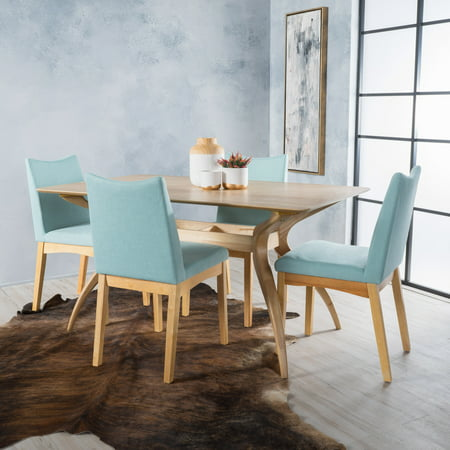 Beatrice Fabric and Wood Mid Century Modern Dining Chairs, 5 Pieces, Mint and (12 Seater Oak Dining Table And Chairs)