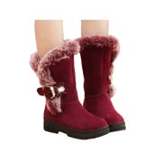 Women's Mid Calf Fur Lined Snow Boots Winter Warm Faux Suede Flat Buckles Shoes