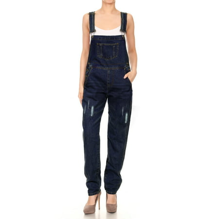 Petite Length - Women's Denim Straight Leg Jeans Available in Regular, Petite, and Tall Lengths Distressed Raw Scratch Style Tapered Leg Overalls