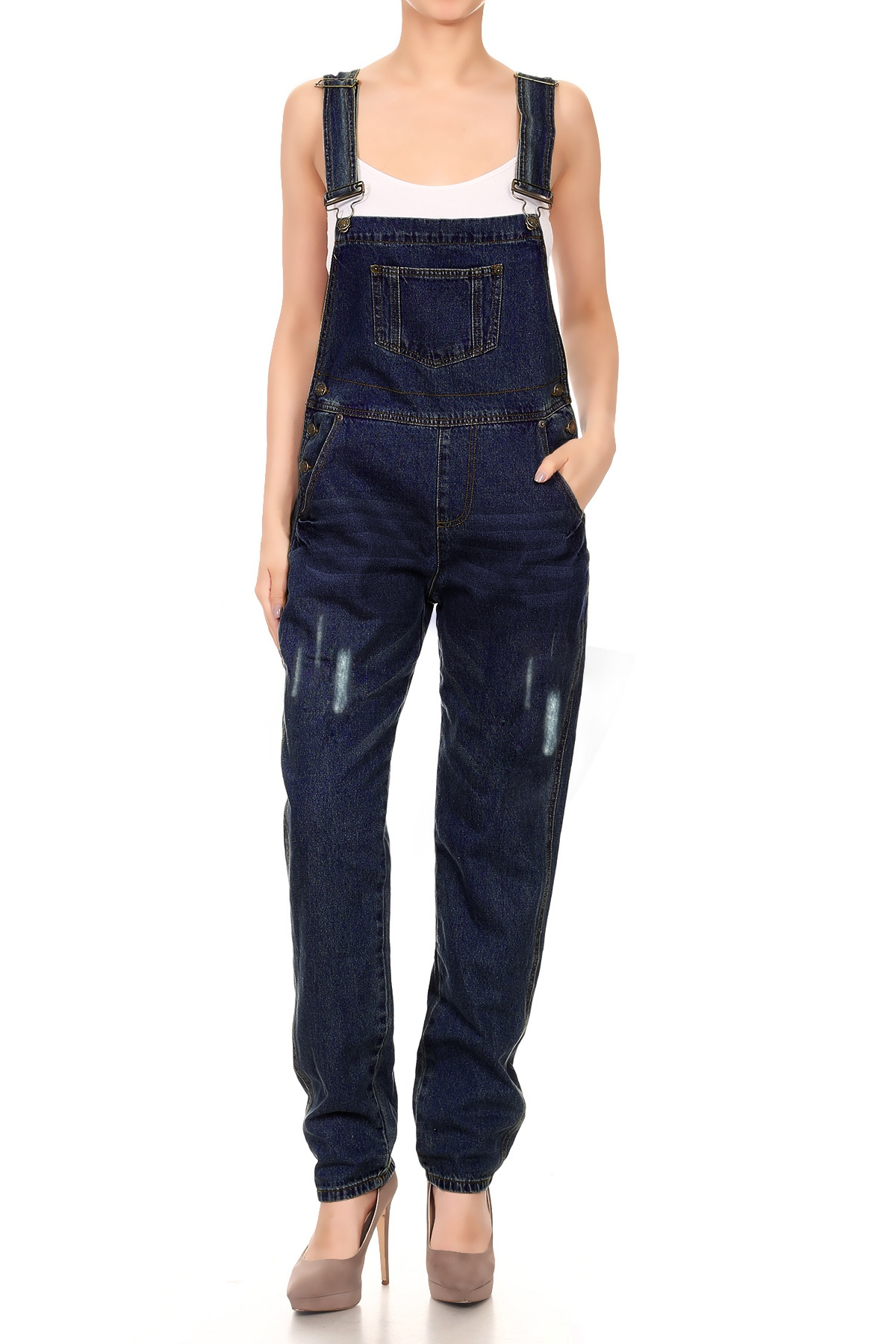 Women's Denim Straight Leg Jeans Available in Regular, Petite, and Tall Lengths Distressed Raw Scratch Style Tapered Leg Overalls