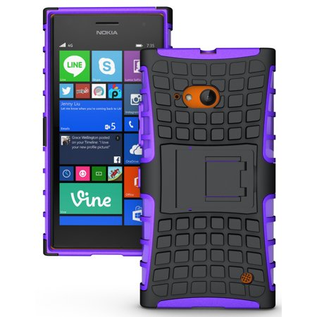 NAKEDCELLPHONE'S PURPLE GRENADE GRIP RUGGED TPU SKIN HARD CASE COVER STAND FOR NOKIA LUMIA 730 735  (SPRINT, VERIZON, (Lumia 730 Best Price)
