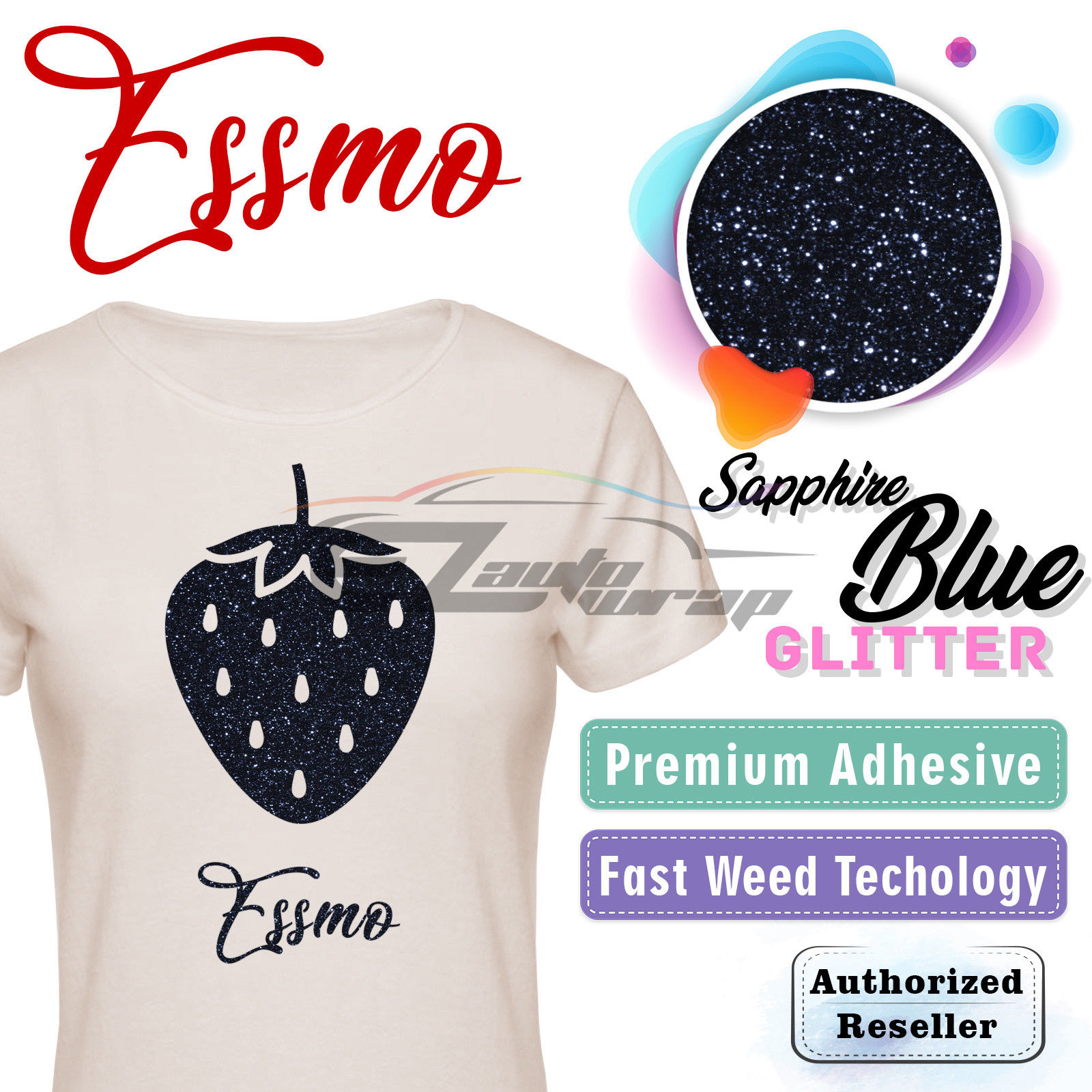 "ESSMO Sapphire Blue Glitter Heat Transfer Vinyl HTV Sheet T-Shirt 20"" Wide Iron On Heat Press 20""x12"""
