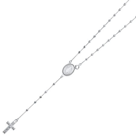 Real 14K Solid White Gold 2.5mm Ball Virgen Guadalupe Rosary Necklace Religious Cross Crucifix Jesus Rosario Mother Mary 20 Inches (14k White Gold Ball Necklace)