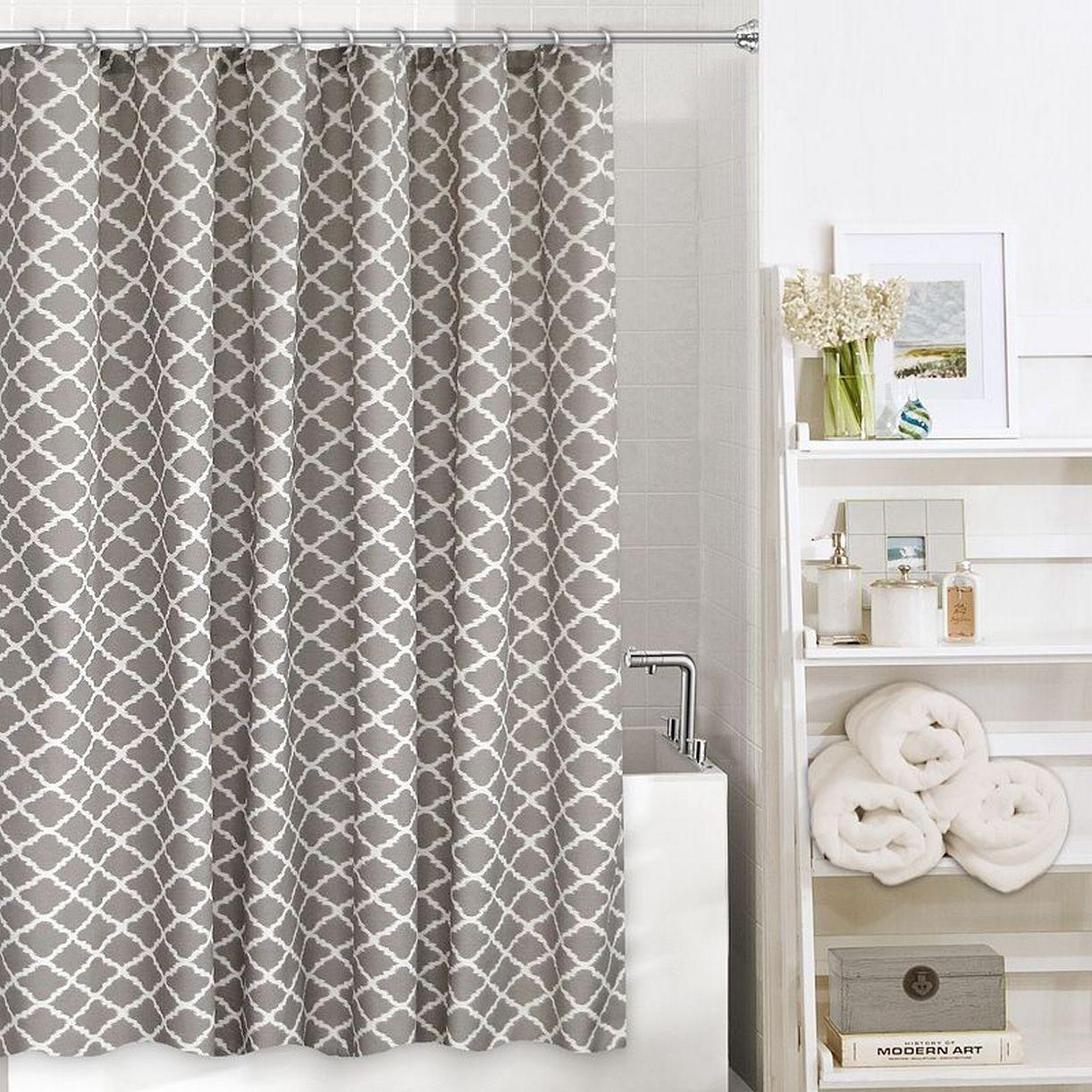 Home Classics Misha Slate Trellis Fabric Shower Curtain Ecru Gray Bath Decor