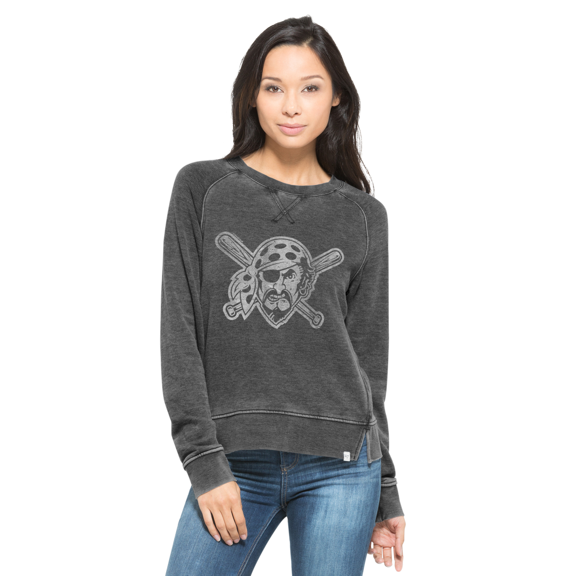 Pittsburgh Pirates '47 Women's Reverb Pullover Sweatshirt - Black