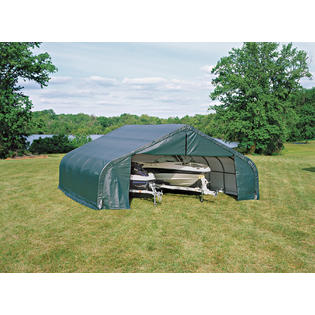 Peak Style Shelter 22x20x11 Steel Frame in Green Cover by