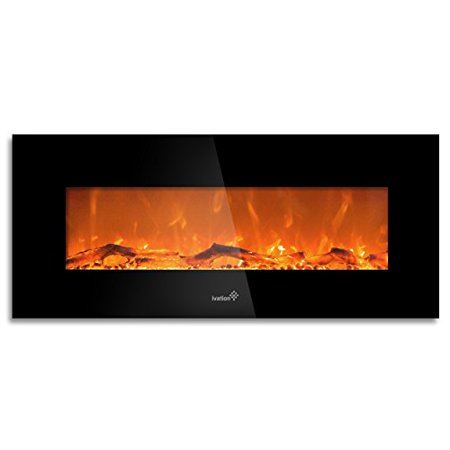 Ivation 50 Wall Mounted Glass Electric Fireplace w/ Built In 1500-Watt Heater  Realistic LED Flames - Mounting Hardware & Remote Included  Great for Living Room, Family Room, Bedroom & More