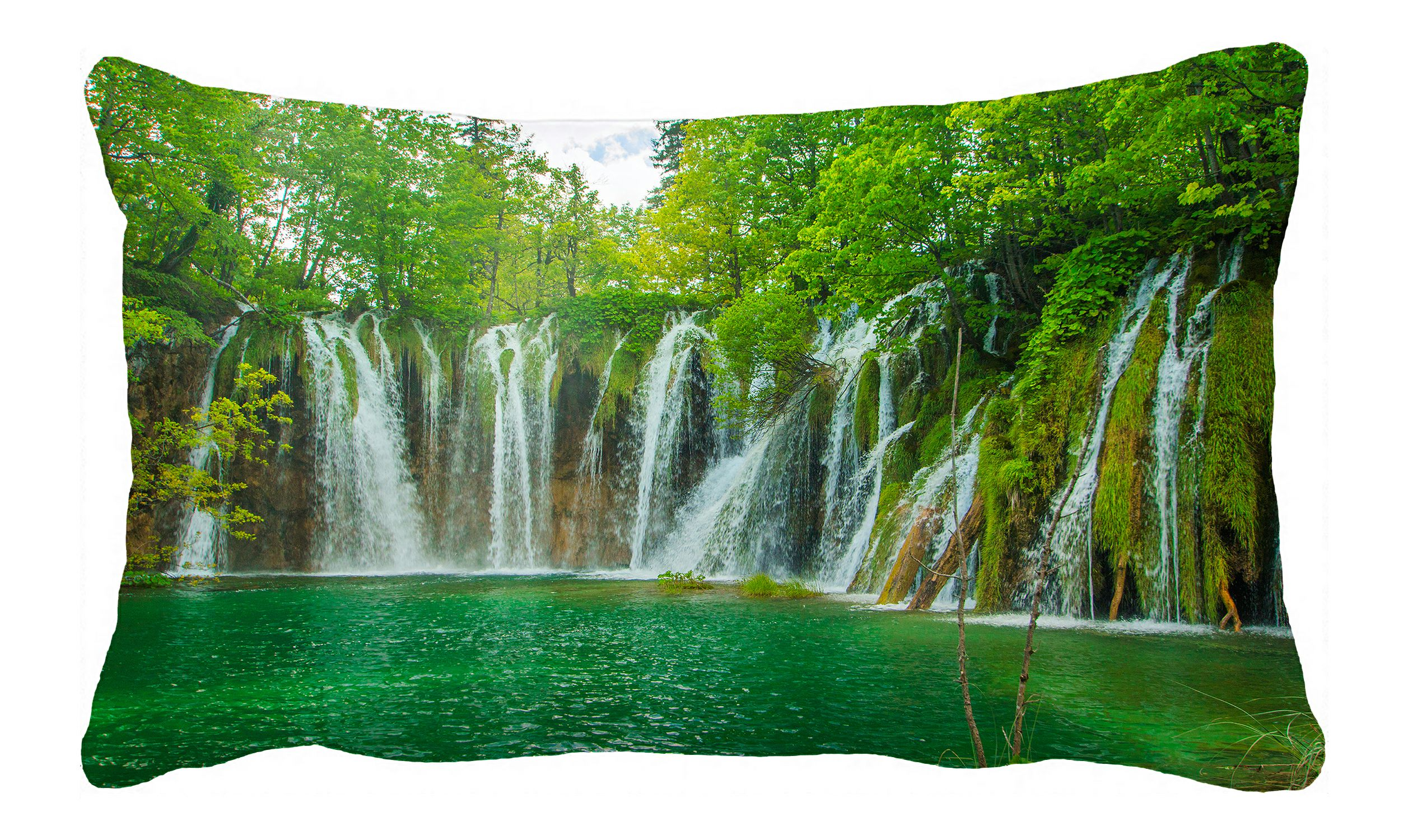 Phfzk Nature Scenery Pillow Case Beautiful Waterfall In Plitvice Lakes National Park In Croatia Pillowcase Throw Pillow Cushion Cover Two Sides Size 20x30 Inches Walmart Com Walmart Com