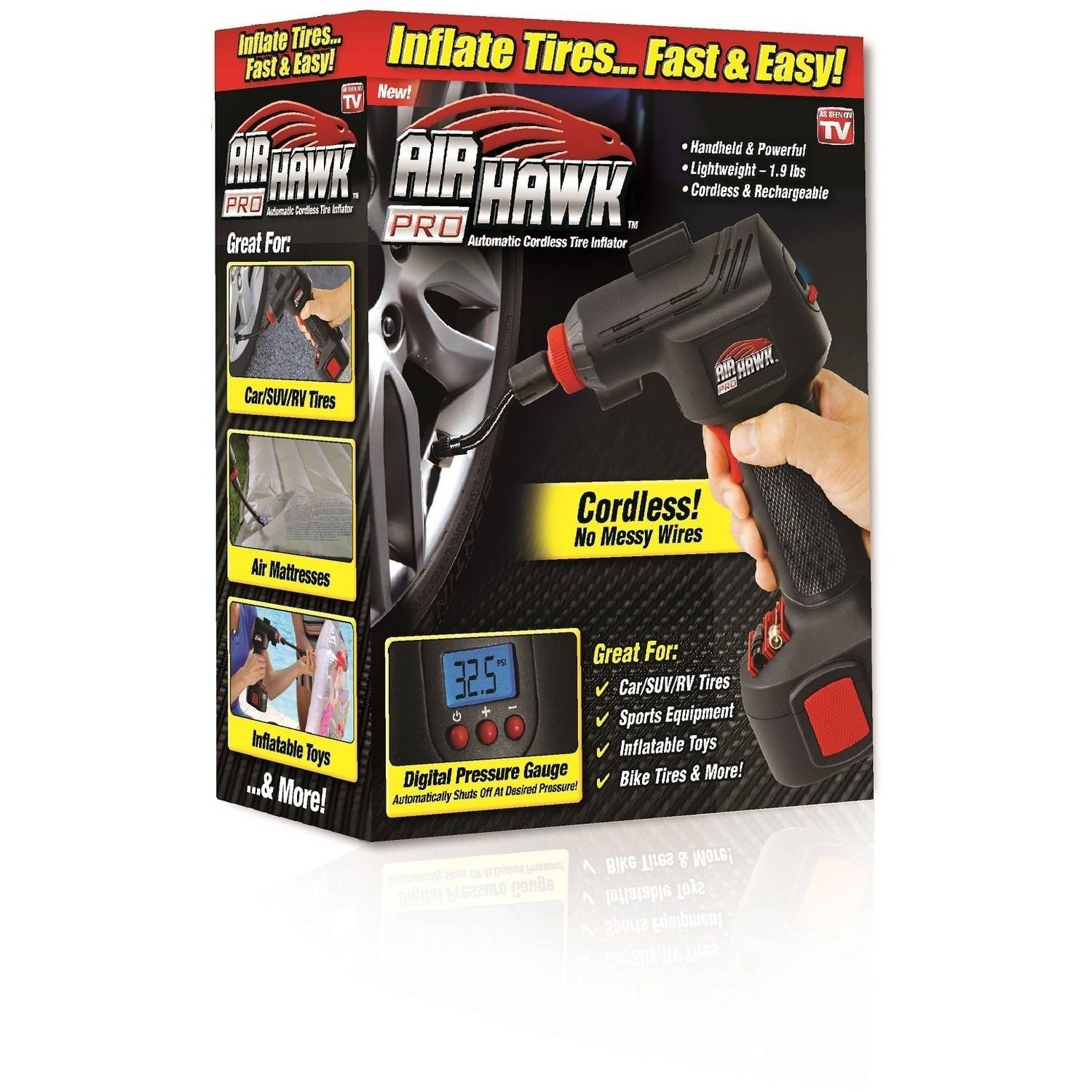 Air Hawk Pro, Portable Air Compressor w/ Built in LED Light - As Seen on TV
