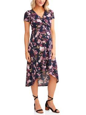product image maternity wrap front hi low dress - Maternity Christmas Dress