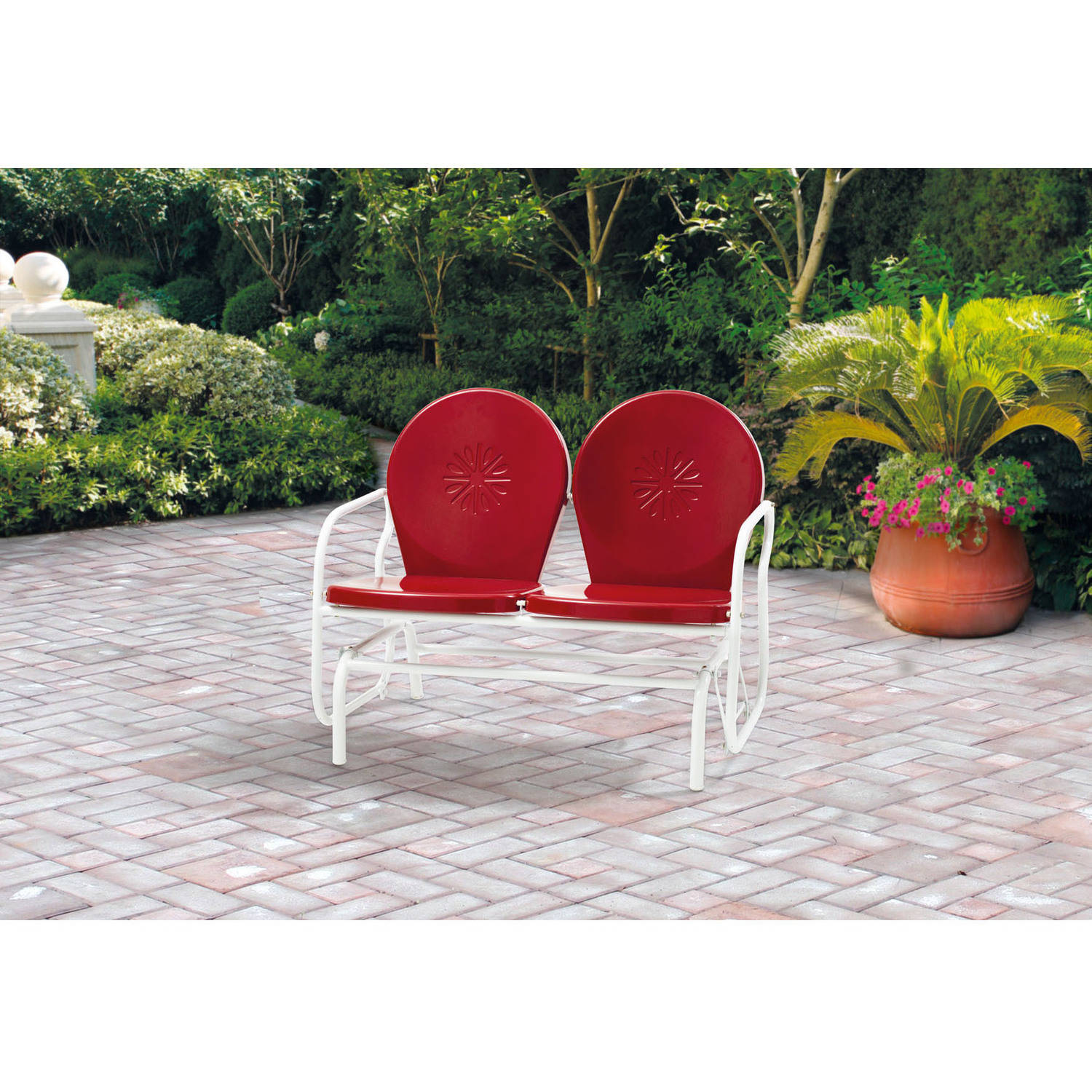 Mainstays Outdoor Retro Outdoor Metal Glider, Red, Seats 2