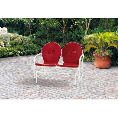 Mainstays Outdoor Retro Outdoor Metal Glider, Red, Seats 2