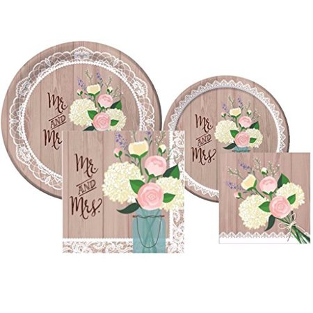 Bridal Shower Plates (Rustic Wedding Bridal Shower Plates and Napkins Deluxe Party Pack for)