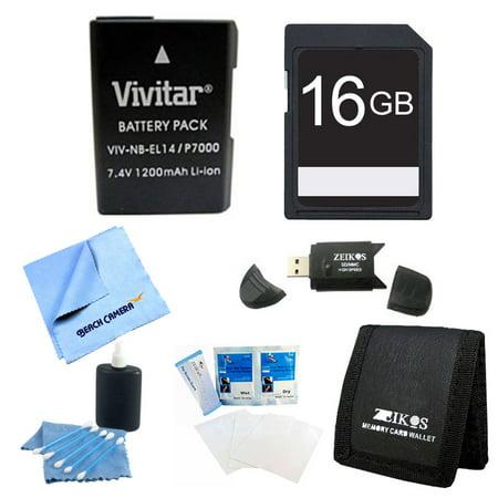 Special EN-EL14/ENEL14a Replacement battery Kit For NIKON DSLR D5300 D5200 D5100 D3300 D3200 D3100, COOLPIX P7800 P7700 P7100 P7000, Nikon DF Cameras - Includes: 1 Vivitar 2300mAh Li-ion Battey 16 GB