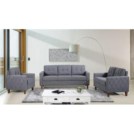 US Pride Furniture Kartier Mid-Century Linen Fabric 3 Piece Living Room Set, Dark Gray ()