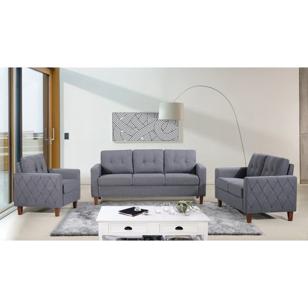 US Pride Furniture Kartier Mid-Century Linen Fabric 3 Piece Living Room Set, Dark Gray