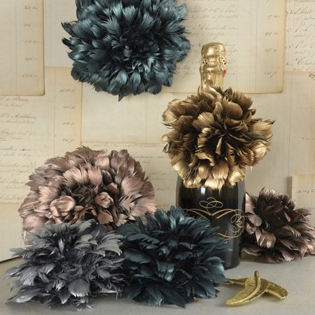 Ivy Bronx Berube Feather Pomanders Ball Sculpture (Set of 6) (Feather Ball Centerpieces)