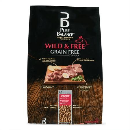Pure Balance Wild & Free Grain-Free Grass-Fed Beef & Boar Recipe, Dry Dog Food, 24 lb