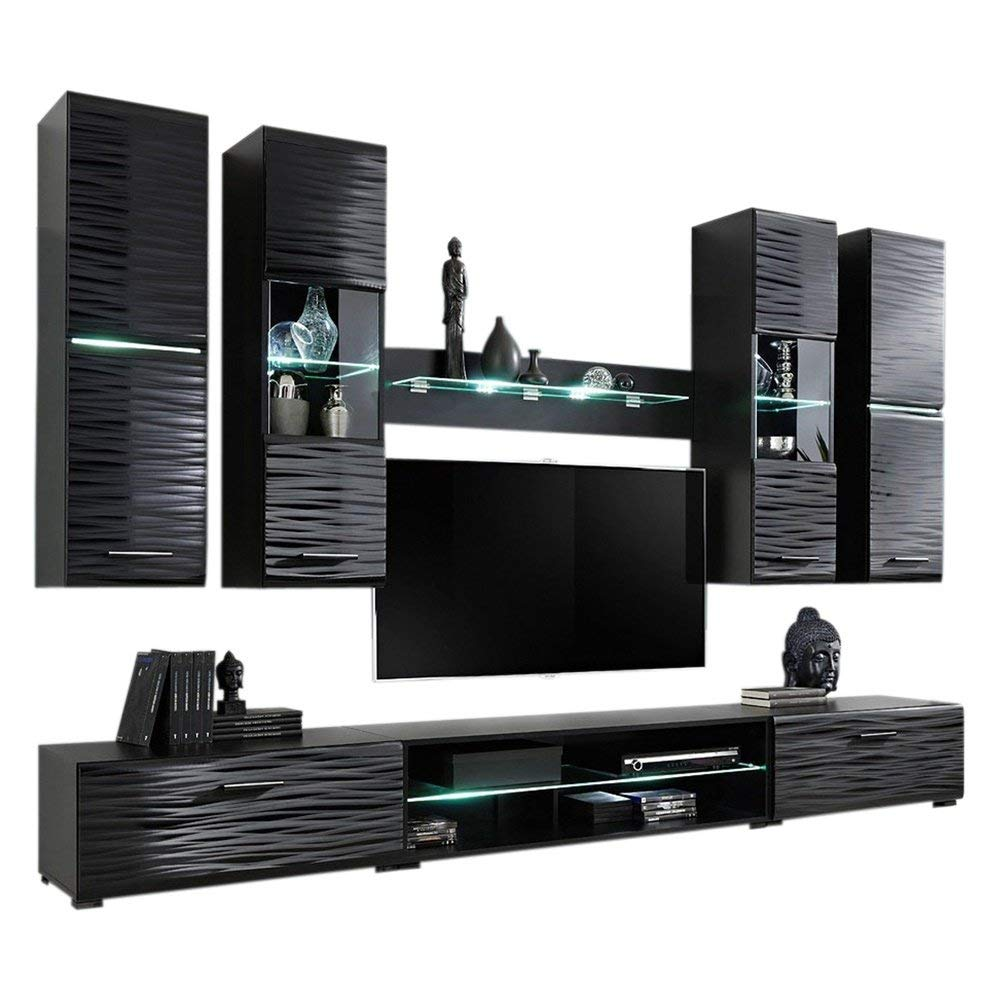 """Modern 4 Entertainment Center Wall Unit 50"""" TV Stand with LED Lights, Black"""