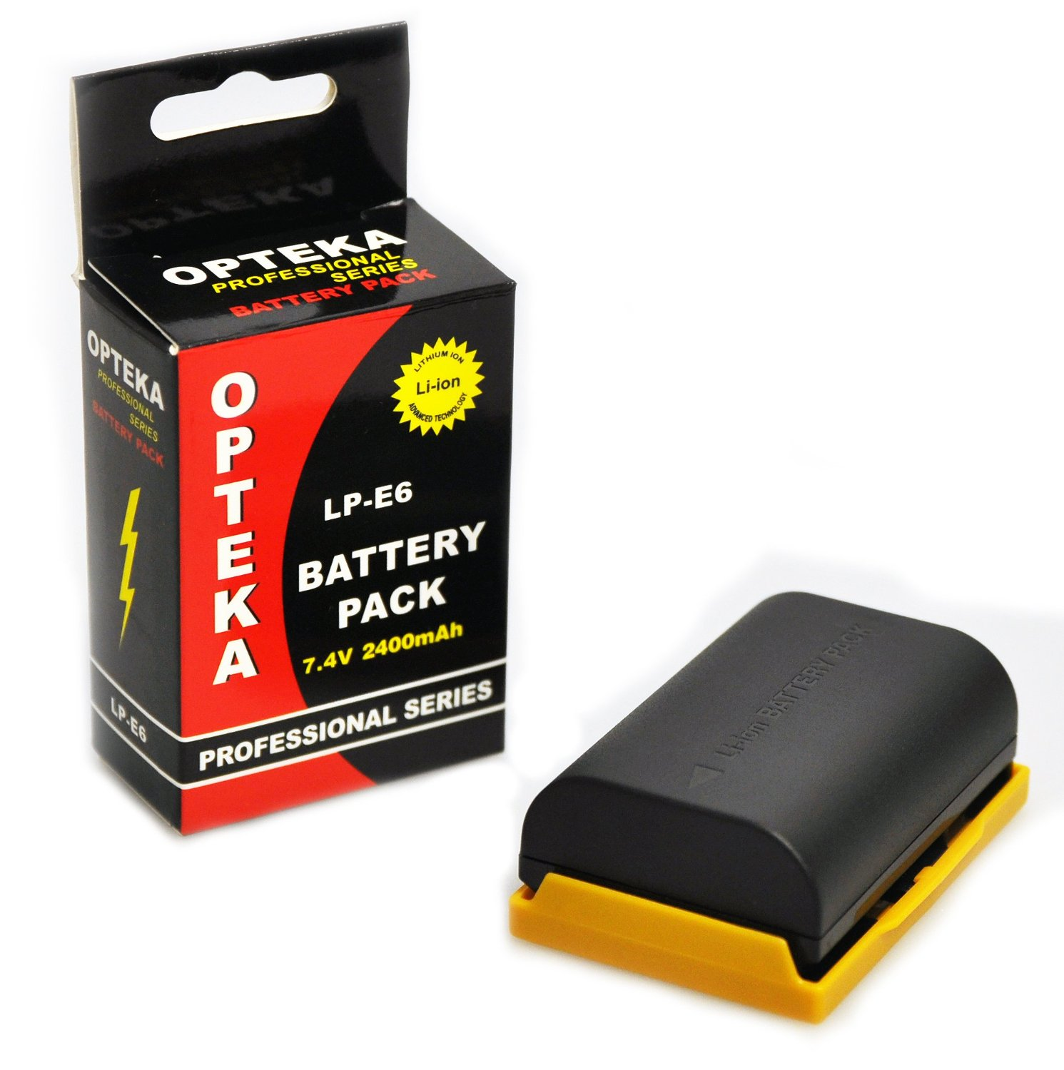 Opteka LP-E6 LPE6 2400mAh Ultra High Capacity Li-ion Battery Pack for the Canon EOS 5D Mark 2 3 II III 5DM2 5DM3 6D 7D 60D 60Da 70D DSLR Digital Camera