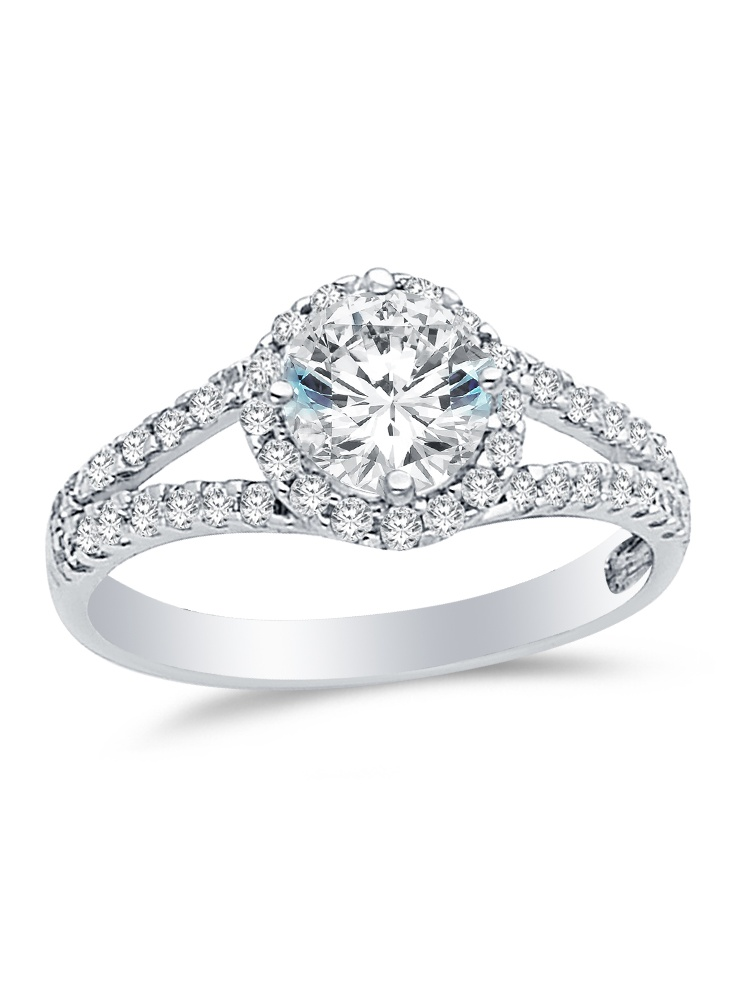 Solid 14k White Gold Round Cut Halo Wedding Engagement Ring with Side Stones, Cubic Zirconia Cubic Zirconia (1.5 ct.) ,... by AA Jewels