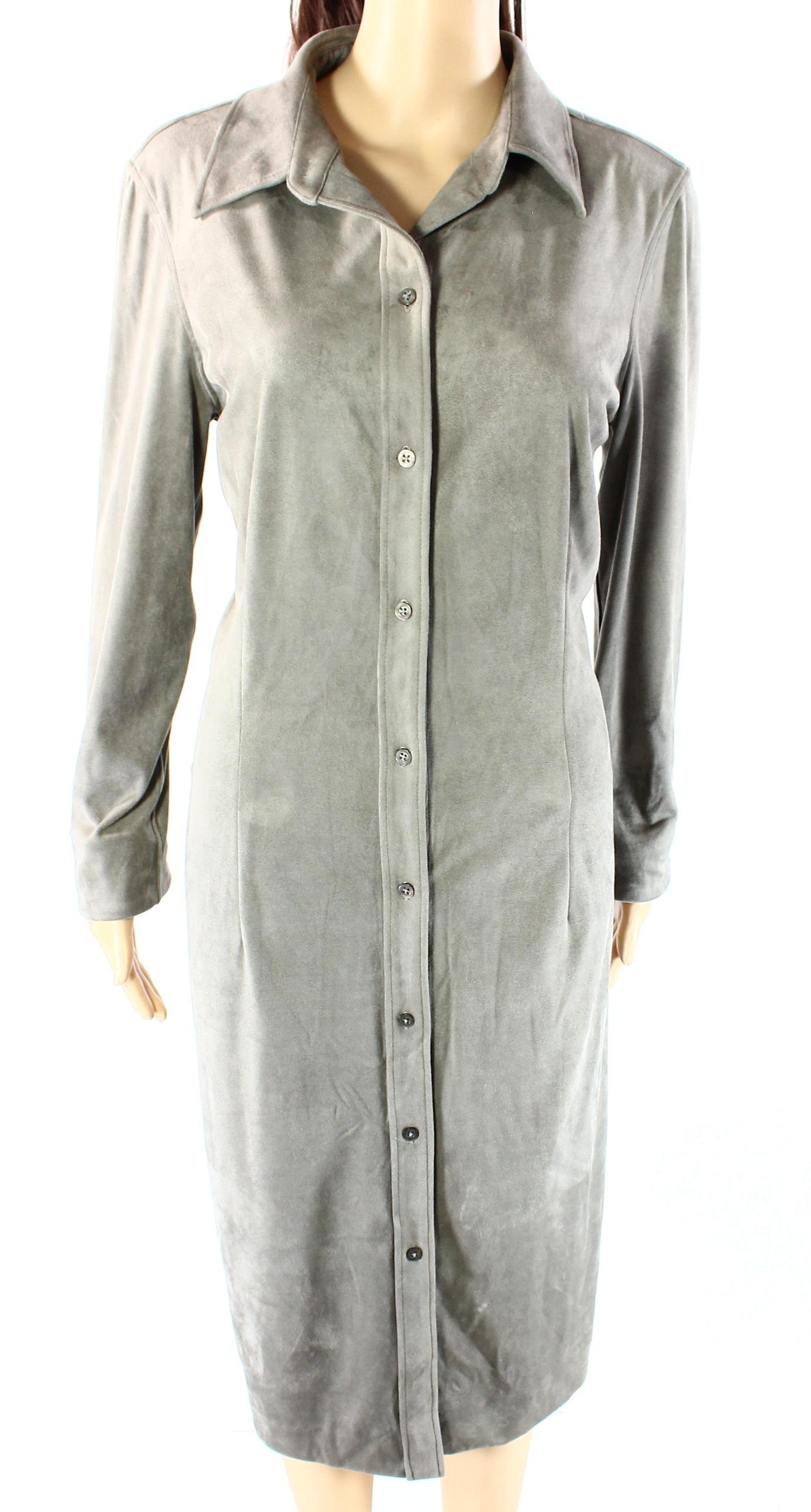Lauren Ralph Lauren NEW Gray Womens Size 14 Button-Down Shirt Dress