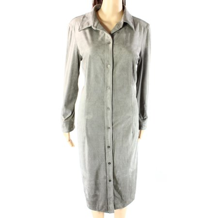Lauren Ralph Lauren NEW Gray Womens Size 14 Button-Down Shirt Dress