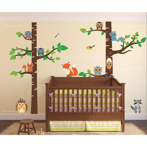 Innovative Stencils 12 Piece Birch Tree Nursery Wall Decal Set