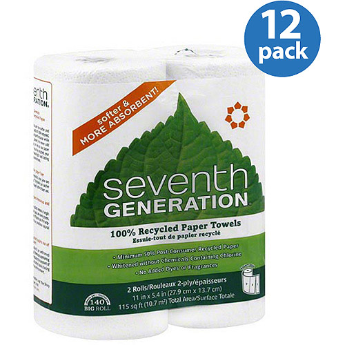 Seventh Generation 100% Recycled White Paper Towels, 140 sheets, 2 count, (Pack of 12)