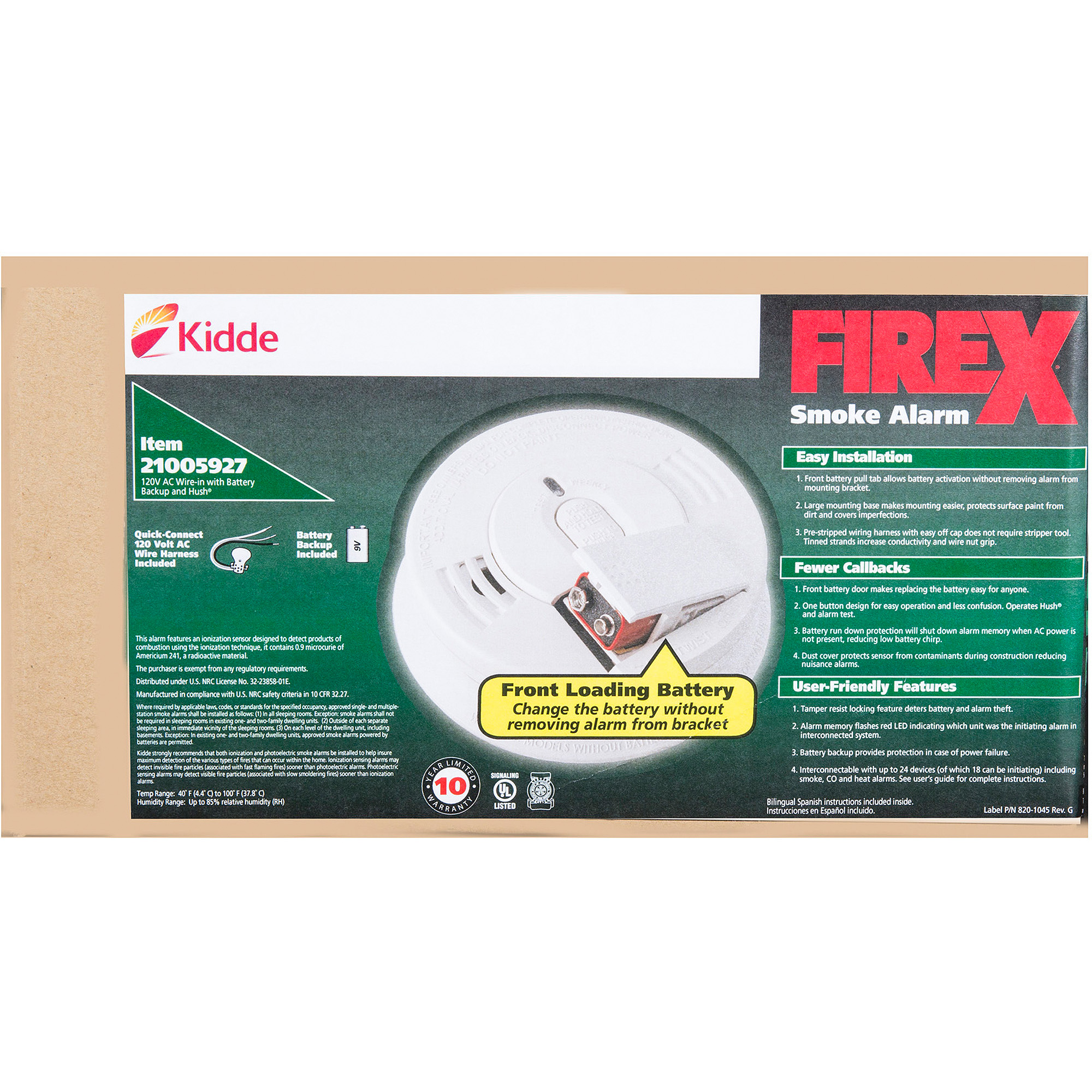 Kidde Contractor Hardwire Ionization Smoke Alarms with Front Battery Door, 6-Pack I12060