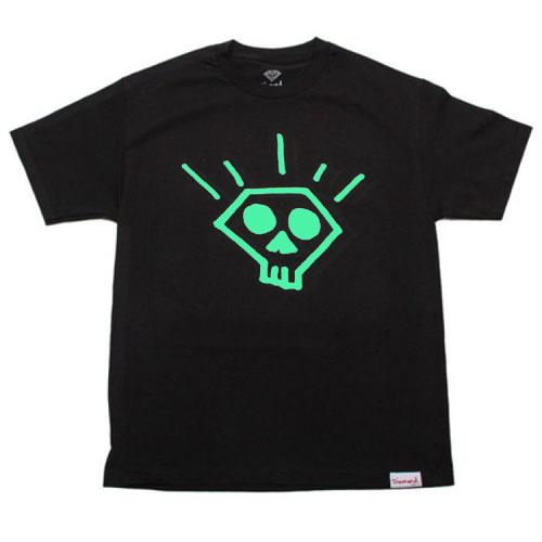 DIAMOND SUPPLY Skateboard T Shirt SKULL BLACK sz M