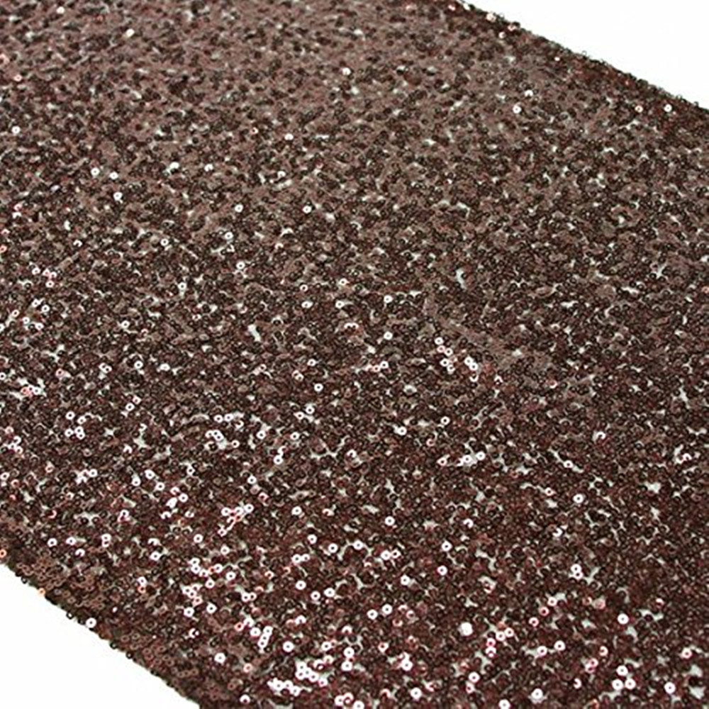 YZEO Brown 13x60 Inch Sparkly Sequin Table Runner For Wedding