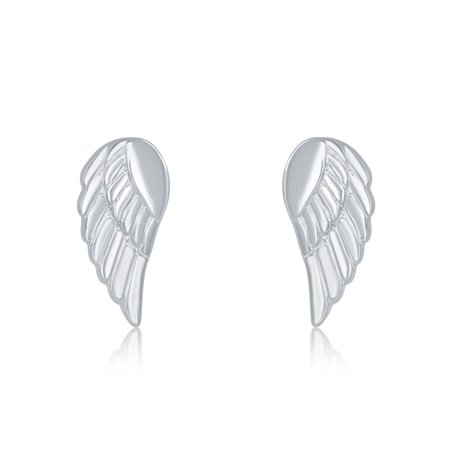 Sterling Silver Small Angel Wing Stud Earrings - Angel Wings Earrings