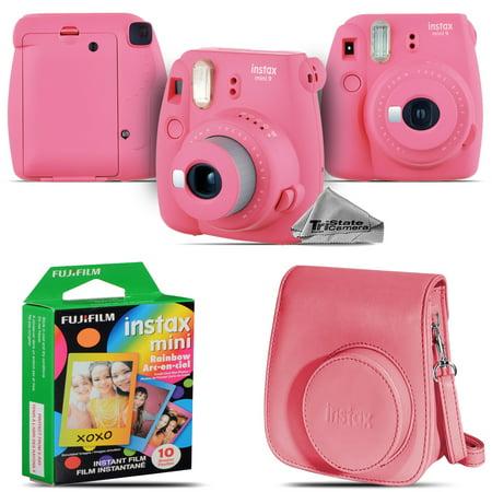 Fujifilm instax mini 9 Instant Film Camera (Pink) + Pink Case - 10 Films Kit
