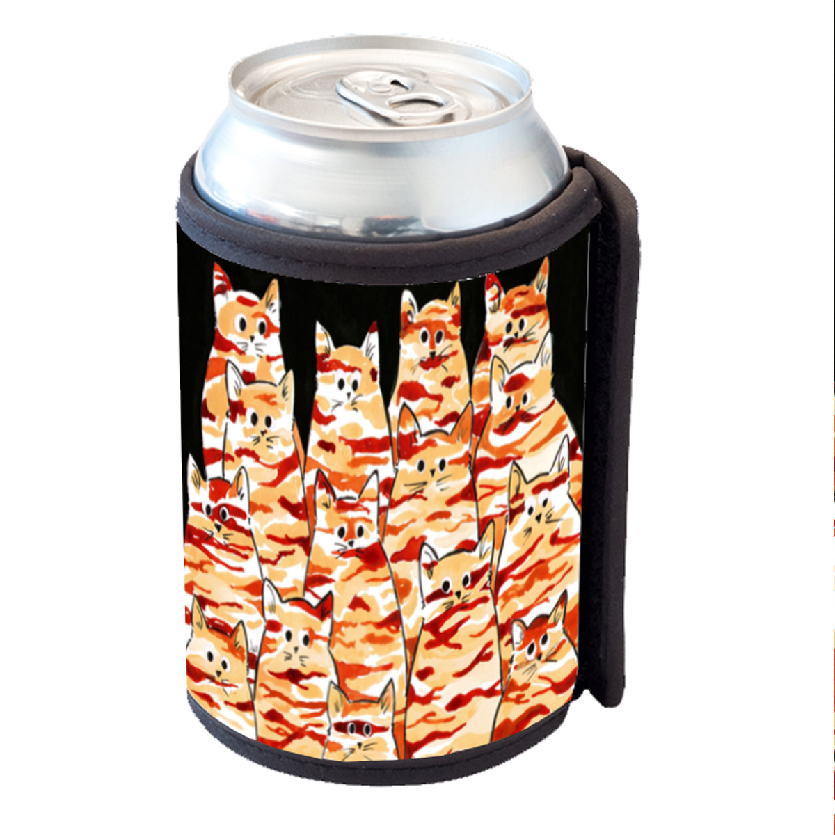 KuzmarK Insulated Drink Can Cooler Hugger - Earth Tones Camo Camouflage Kitties Abstract Cat Art by Denise Every