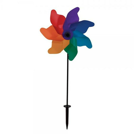 In the Breeze Rainbow Poly Petal Pinwheel Spinner, 12-Inch](Rainbow Pinwheel)