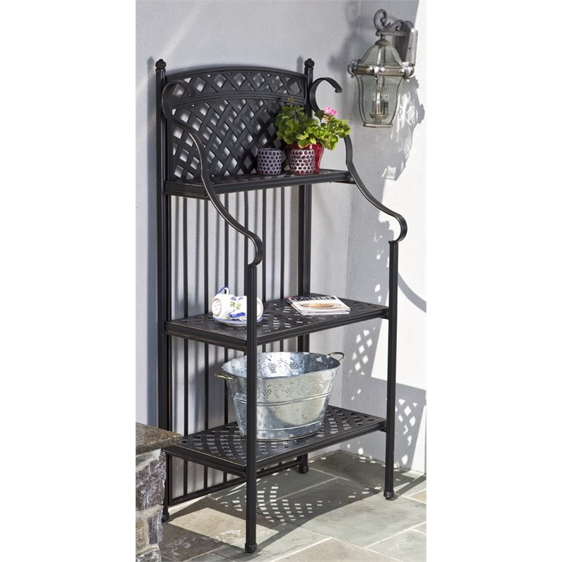 Alfresco 3 Tier Patio Bakers Rack In Antique Topaz