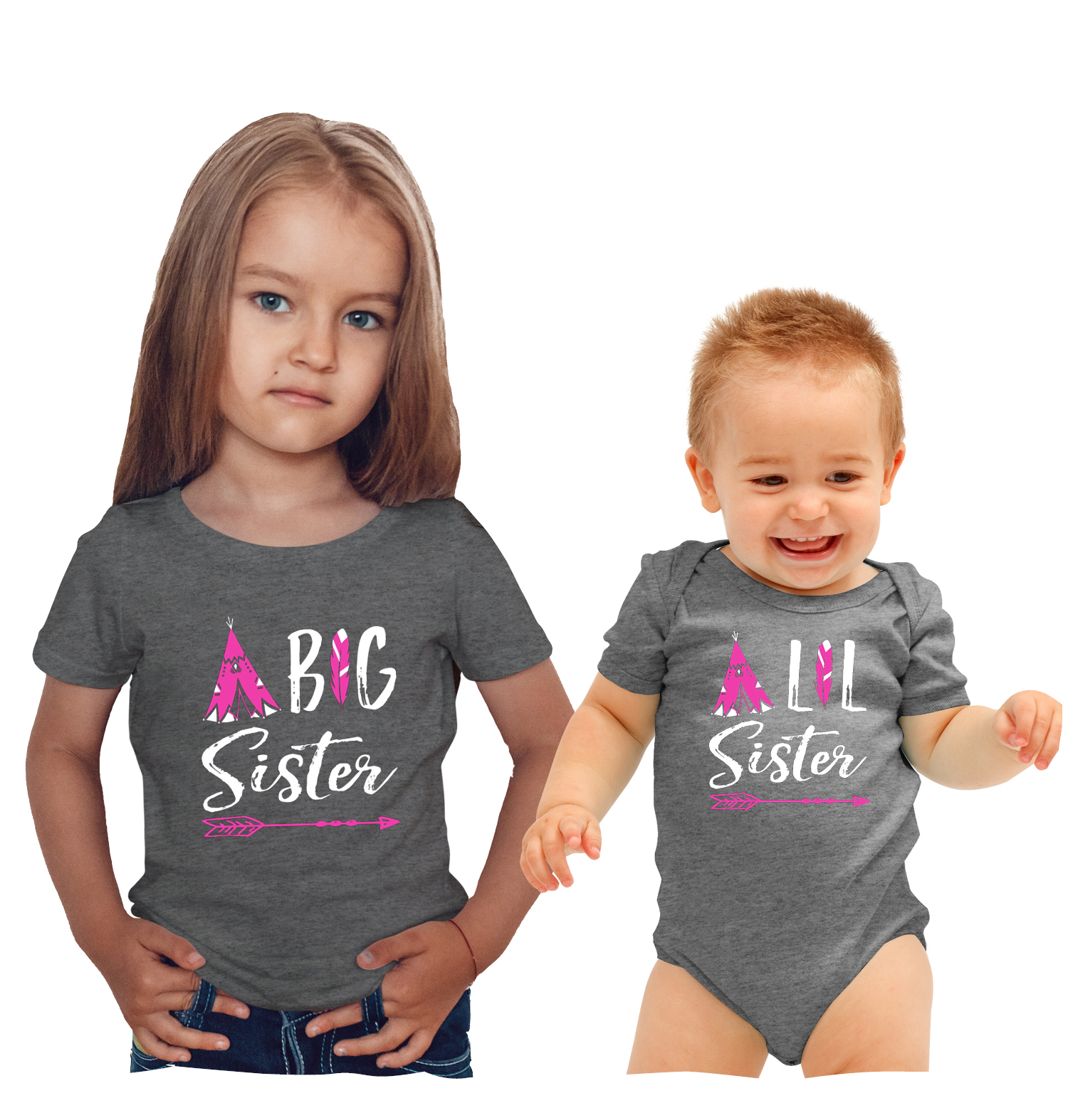 Feisty And Fabulous Big Sister Little Sister Shirts Matching Outfits For Sisters Gray Big Sister Baby Sister Walmart Com Walmart Com