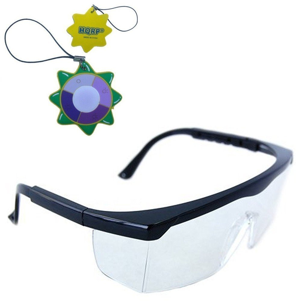 HQRP Clear Tint UV Protective Safety Glasses / Goggles for Lab Chemistry courses Science class in School High School College Laboratory + HQRP UV Meter