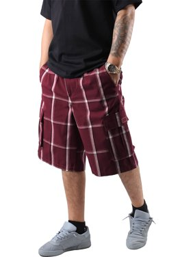 Ma Croix Men's Checkered Loose Fit Plaid Cargo Shorts