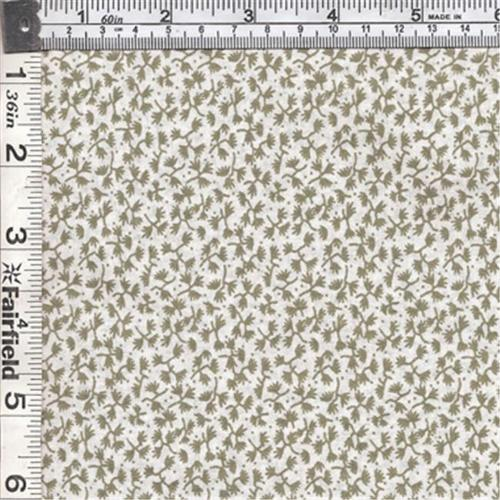 Textile Creations CALI-432 Calico New Arrivals 3, Small Leaves Green & Ivory